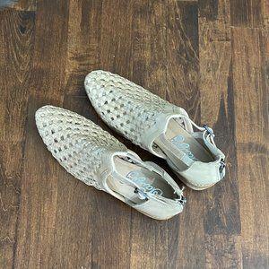 Naughty Monkey cream leather weave flat shoes, 7.5